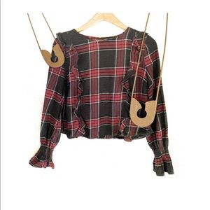 Romeo & Juliet Couture Plaid Blouse